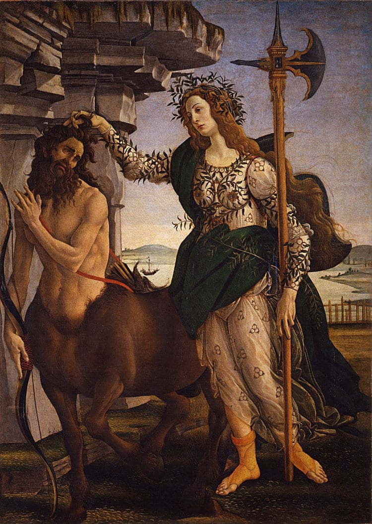 산드로 보티첼리가 그린 팔라스와 켄타우로스, Sandro Botticelli, Pallas and the Centaur, c. 1482,  empera and oil on poplar panel, 207 x 148 cm, Galleria degli Uffizi, Florence