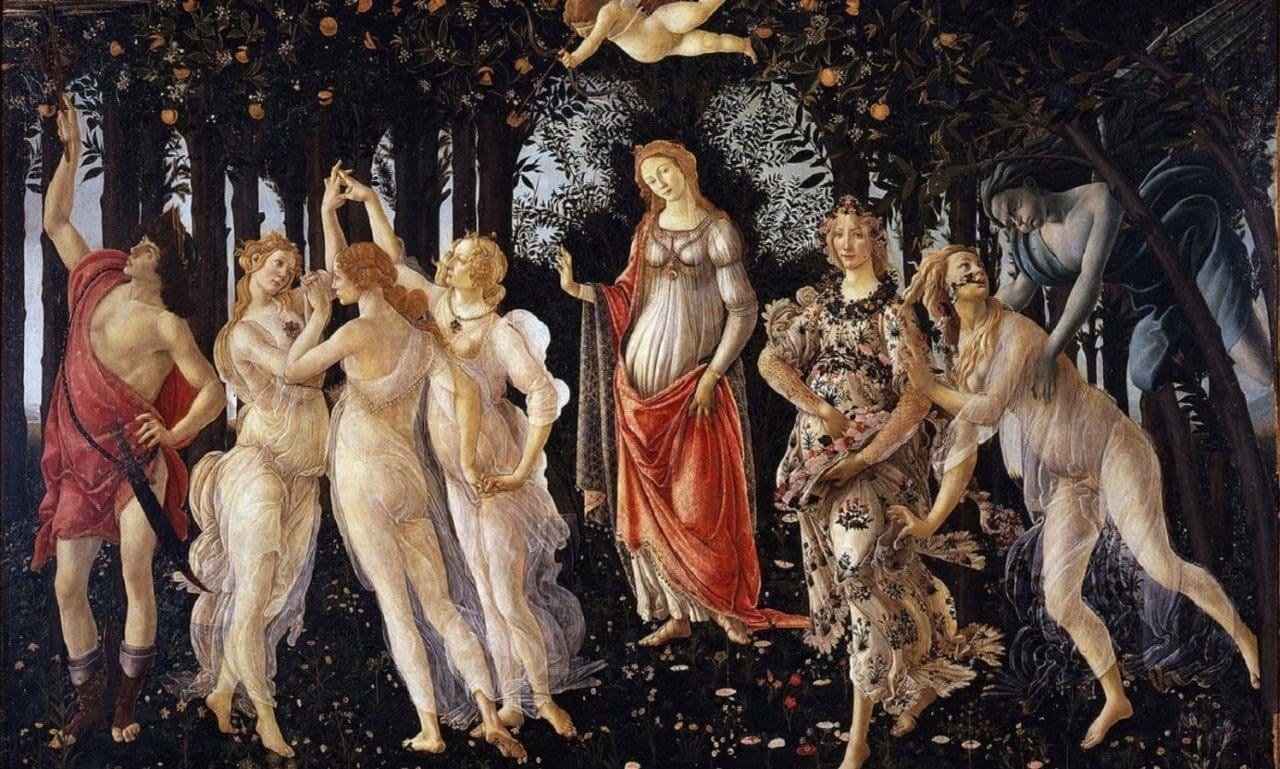 산드로 보티첼리가 그린 프리마베라, Sandro Botticelli, Primavera, c. 1482, Uffizi Gallery, Florence
