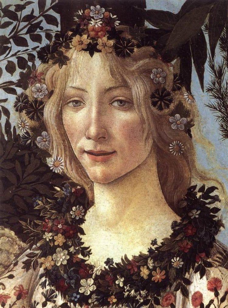 산드로 보티첼리의 봄중에서 시모네타로 추정되는 플로라, Sandro Botticelli, Primavera, c. 1482, Uffizi Gallery, Florence