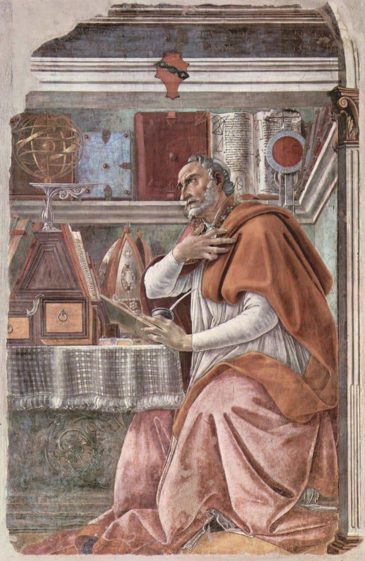 산드로 보티첼리(Sandro Botticelli)가 화가로서 두각을 나타낸 오니산티 성당에 그린 '성 아우구스티누스(Augustine of Hippo)'
