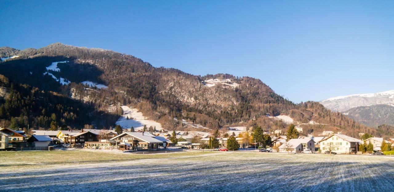 스위스 자동차 여행 - 그린델발트로ㄹ 가는 길의 품경, 아침 햇살이 눈과 푸른 잔디와 섞여 묘한 분위기를 만들어낸다, Image by Happist-4618