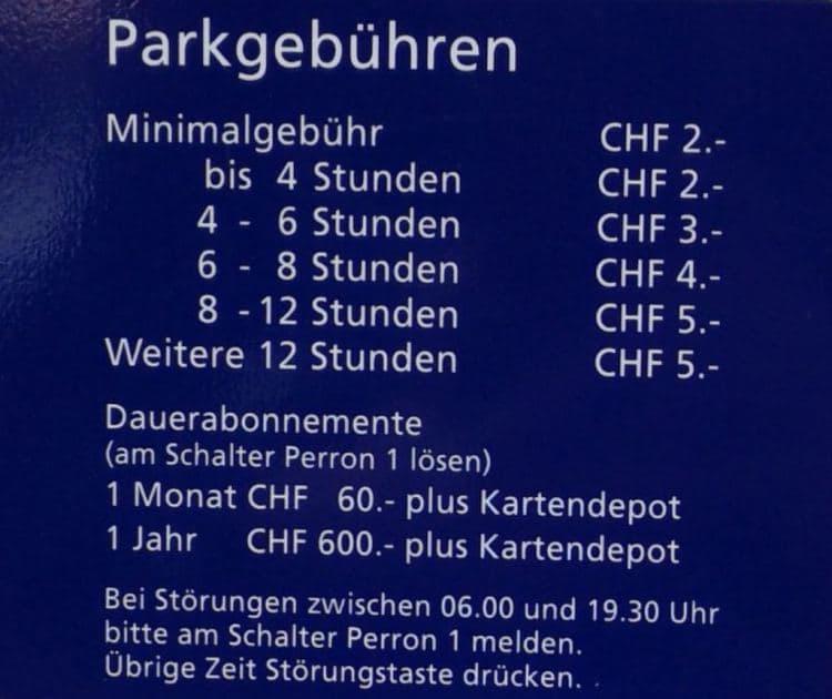 스위스 자동차 여행 - 인터라켄 동역(Interlaken Ost) 주차장 주차요금