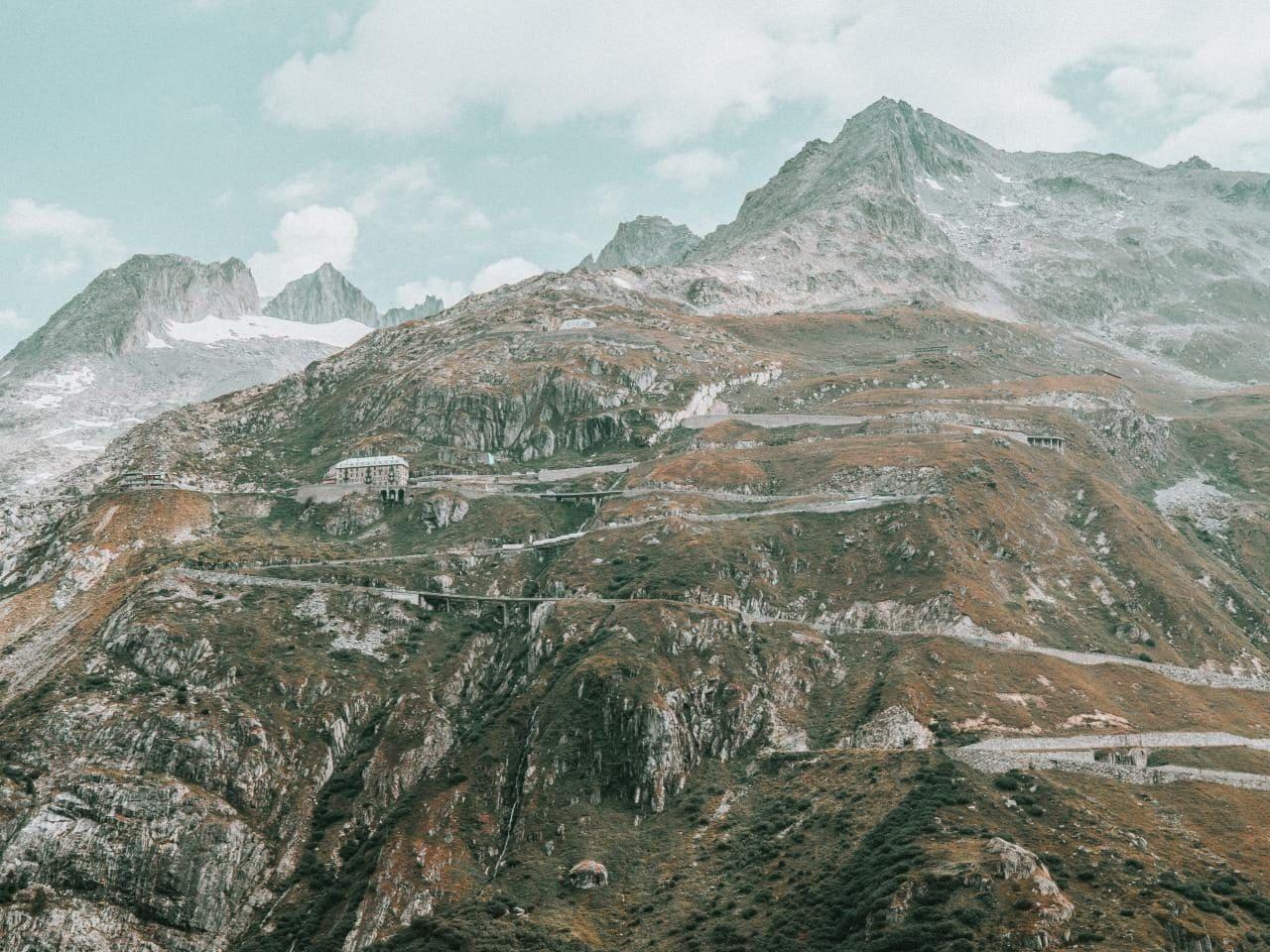 스위스 푸르카 패스의 벨베데레(Belvédère) 호텔근처 풍경, Furka Pass, Obergoms, Switzerland, Image - laurent-naville
