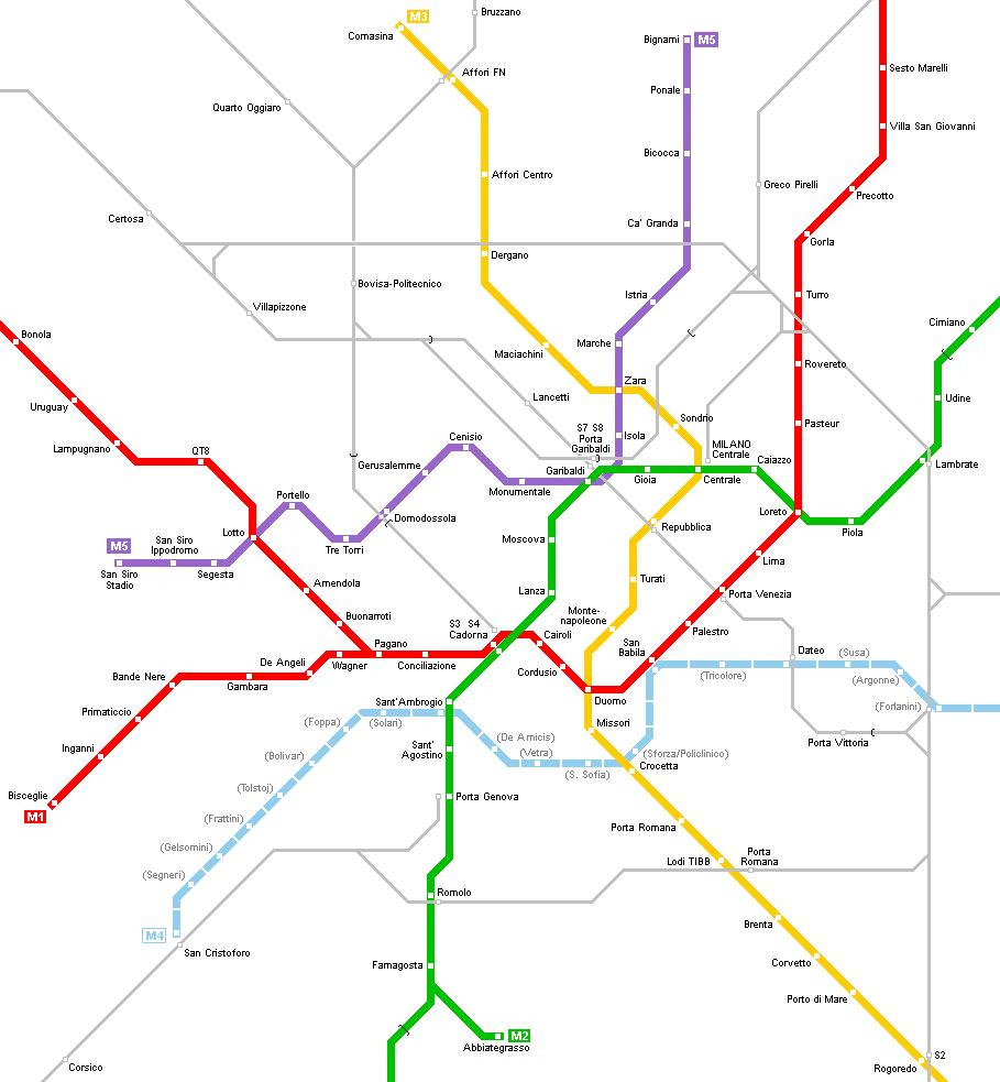 이탈리아 밀라노 메트로 맵 milano metro map