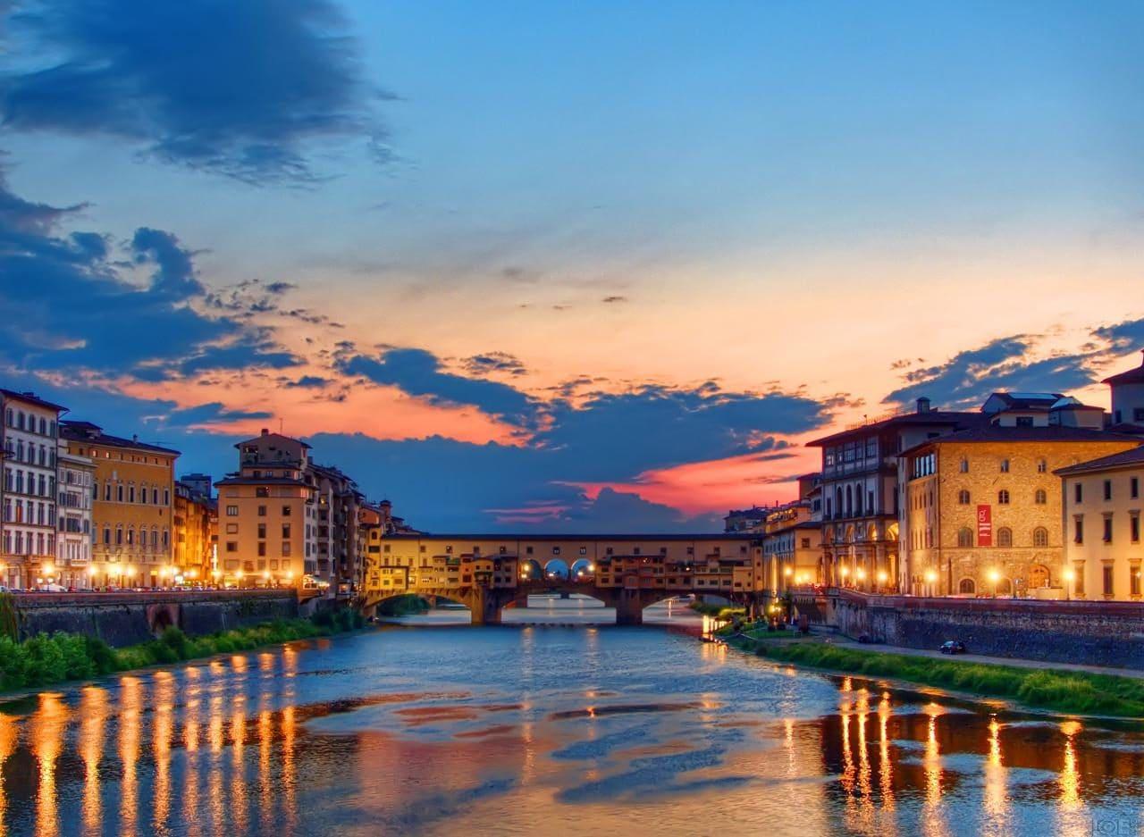 이탈리아 여행, 피렌체, 베키오다리(Ponte Vecchio) 석양 풍경, Sunset of Ponte Vecchio, Firenze, Italy, Image - 27707