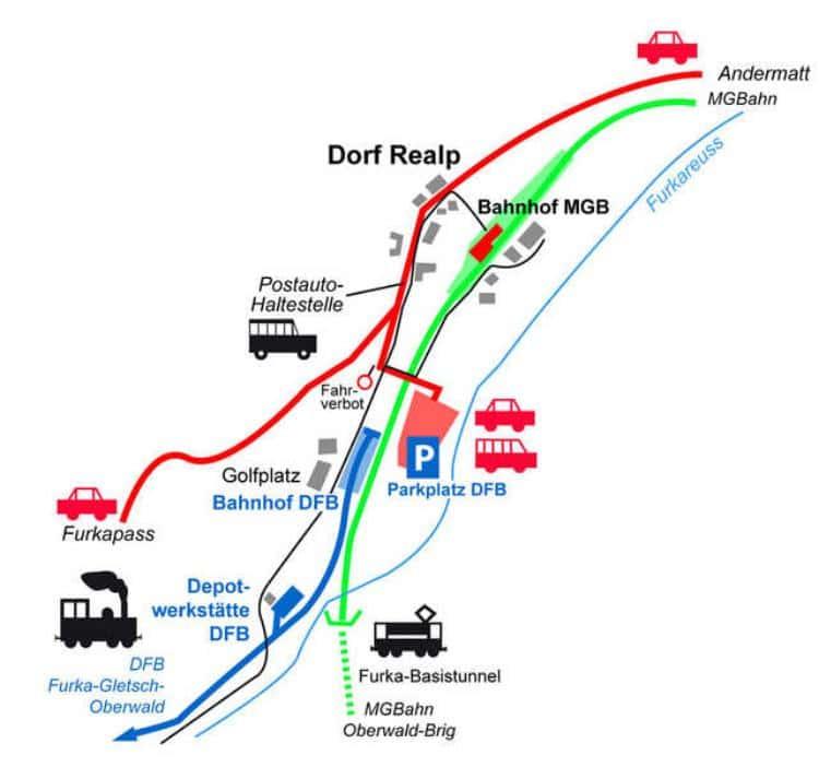 푸르카 베이시스 터널을 이용해 푸르카 패스를 통과하는 카트레인이 출발하는 리알프역 주변도