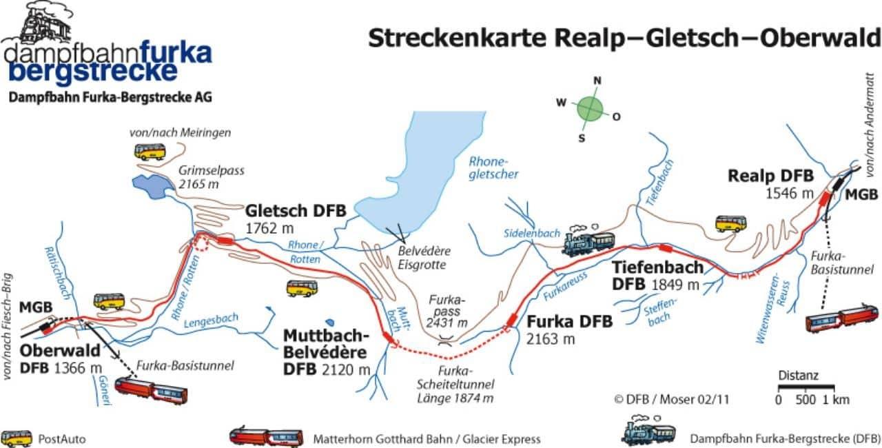푸르카 패스 지역을 따라 달리는 기차 노선도 Furka Line route
