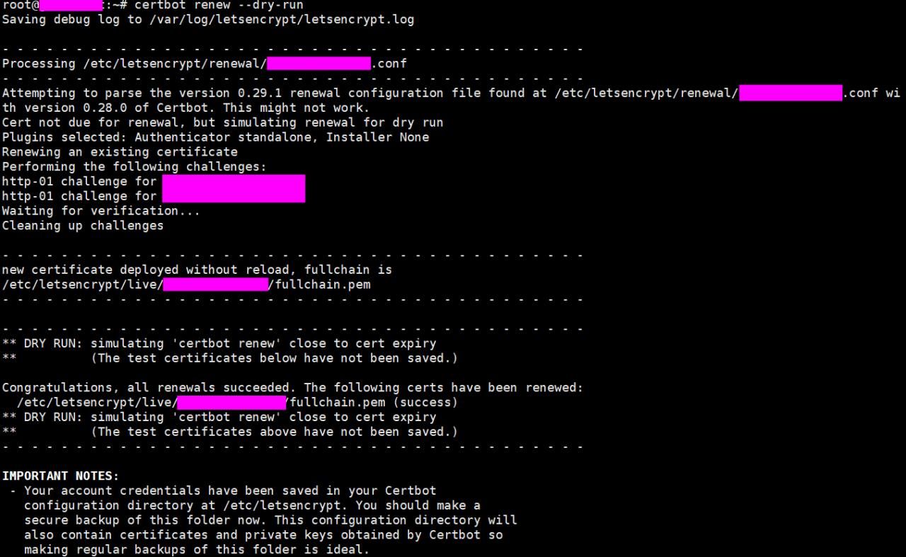 Let's Encrypt Certbot 업그레이드 후 인증서 갱신 모습