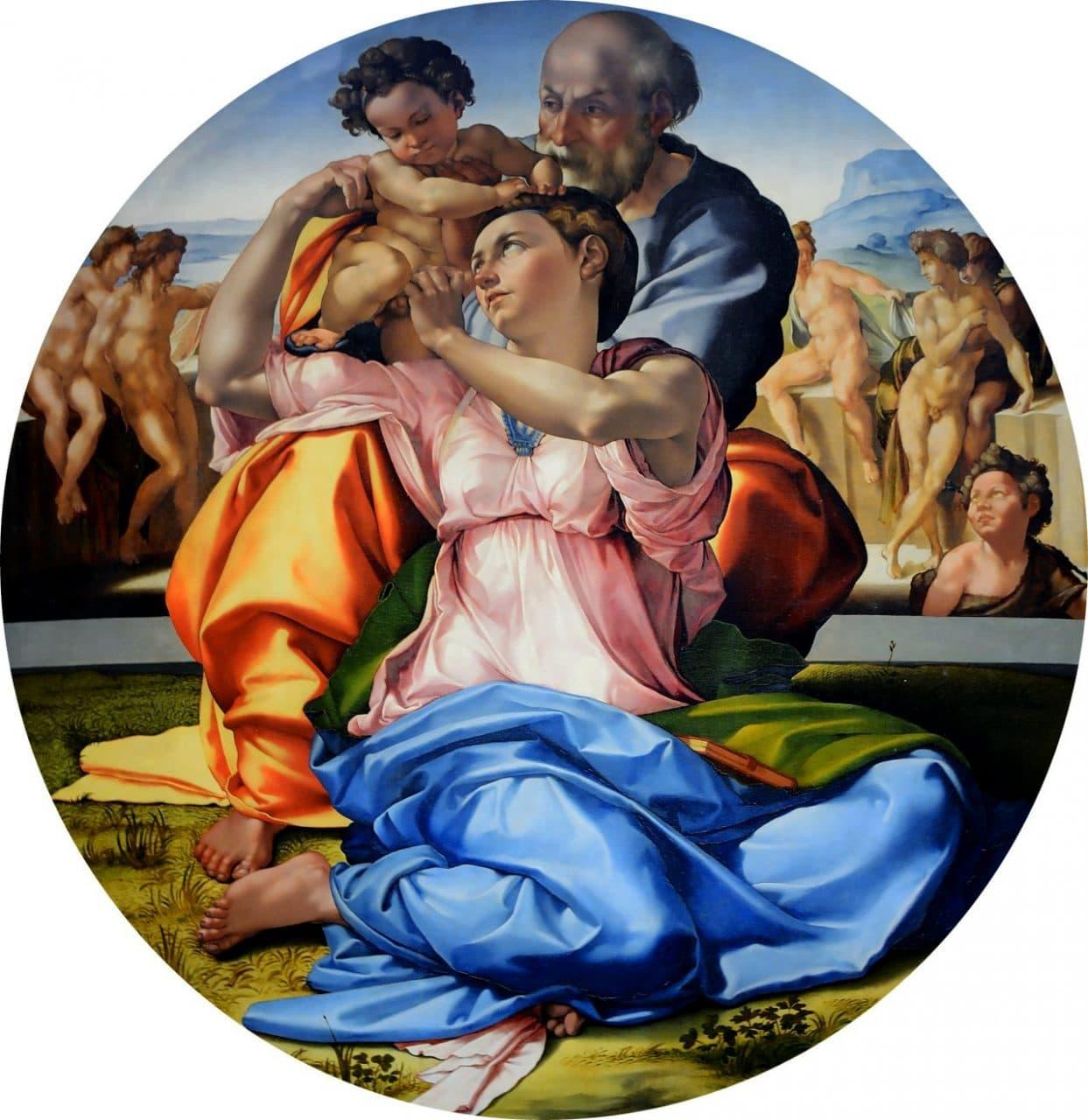 미켈란첼로의 유일한 회화 작품인 론도 도니(Tondo Doni), 우피치갤러리 소장