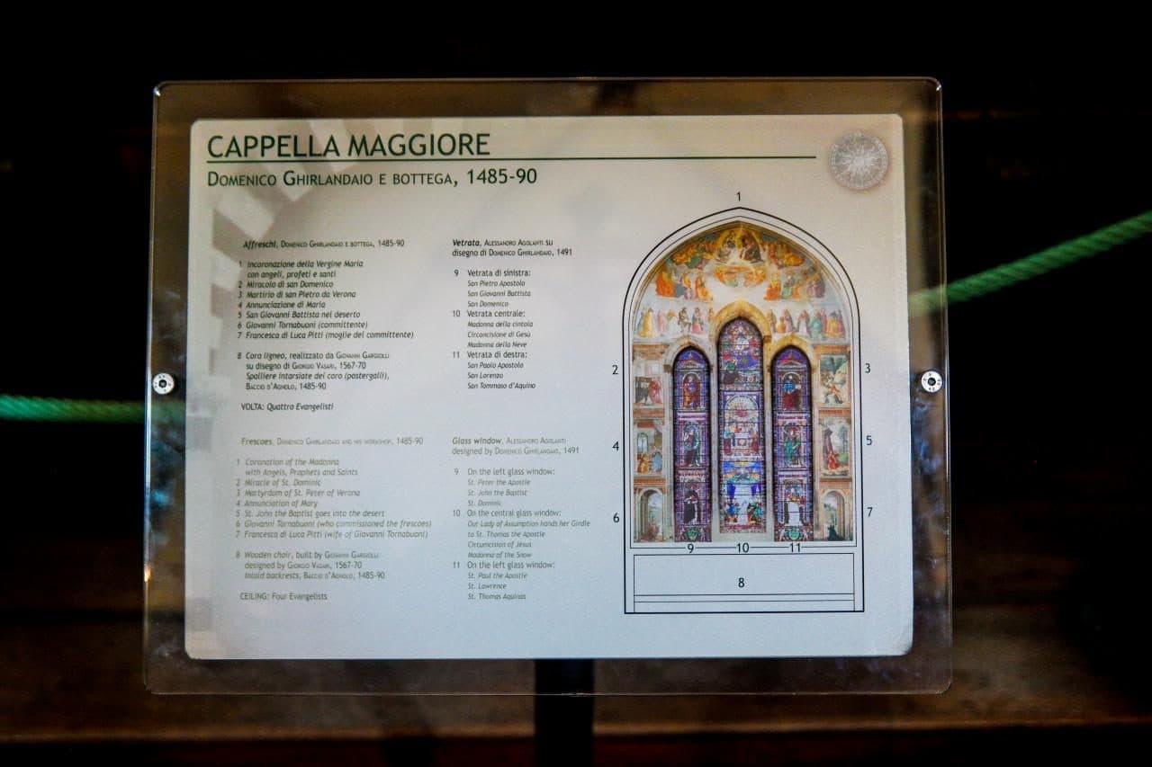 이탈리아 여행, 피렌체, 산타 마리아 노벨라성당, 토르나부오니 예배당(영어 Tornabuoni Chapel, 이탈리아어 Cappella Maggiore) 설명서, © All Rights Reserved - Choi dongsoon