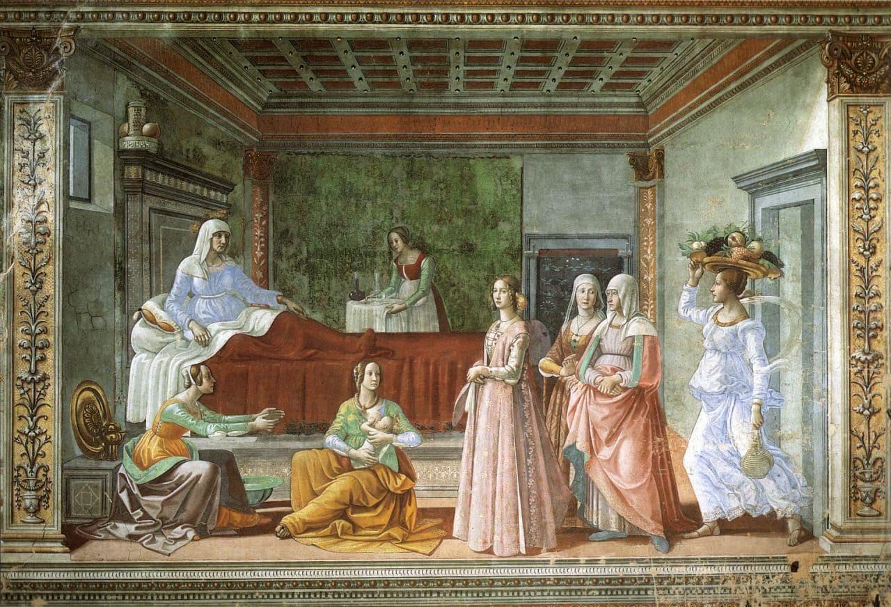 이탈리아 여행, 피렌체, 산타 마리아 노벨라성당, 토르나부오니 예배당(Tornabuoni Chapel), 세례 요한의 출생(Birth of the Baptist)