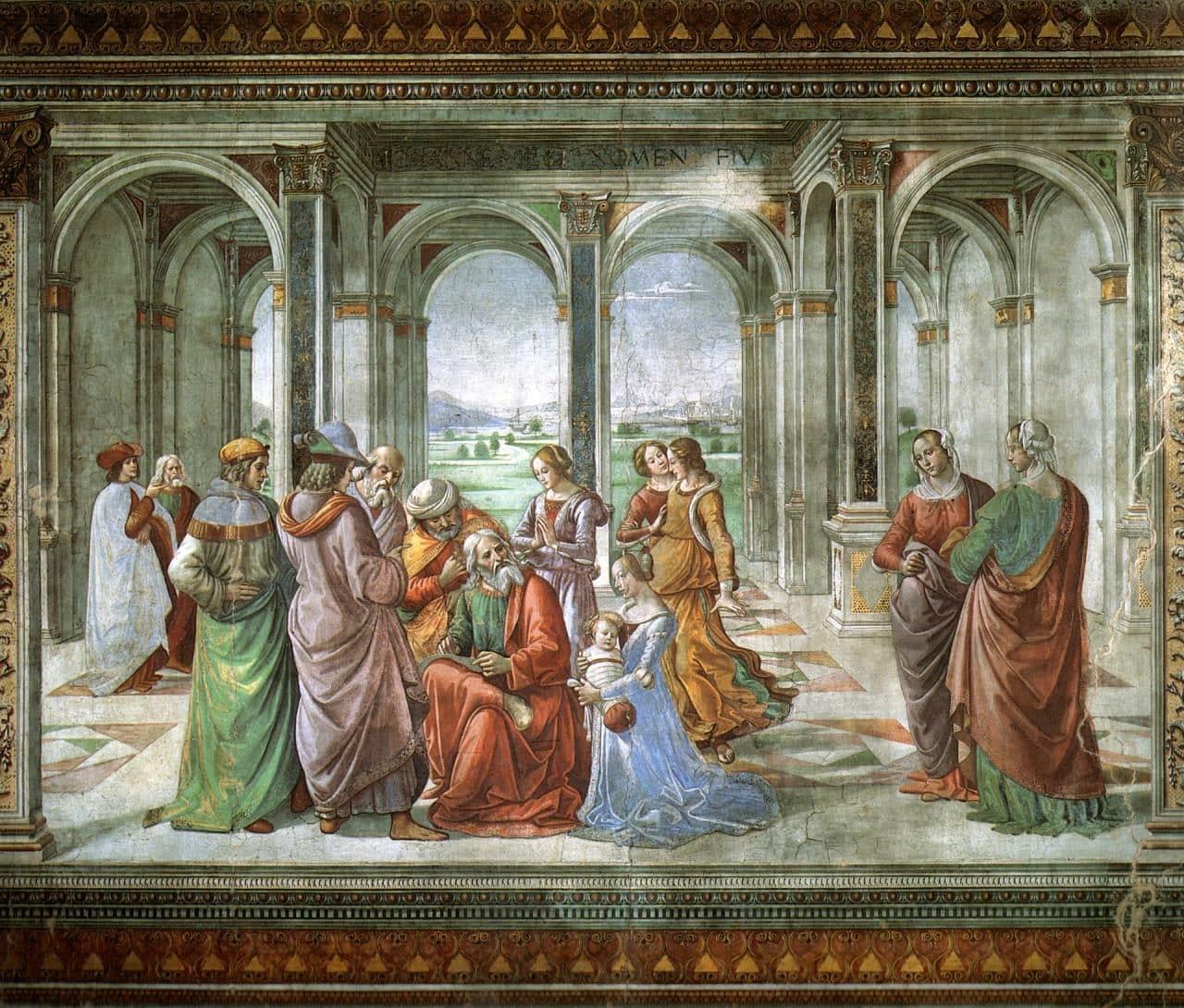 이탈리아 여행, 피렌체, 산타 마리아 노벨라성당, 토르나부오니 예배당(Tornabuoni Chapel), 즈가랴가 아들(요한)의 이름을 쓰다(Zechariah Writes John's Name)