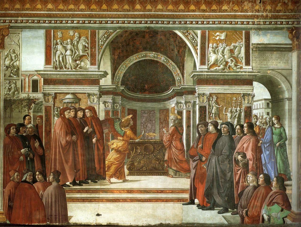 이탈리아 여행, 피렌체, 산타 마리아 노벨라성당, 토르나부오니 예배당(Tornabuoni Chapel), 즈가랴에게 나타난 천사(Apparition of the Angel to St. Zechariah)