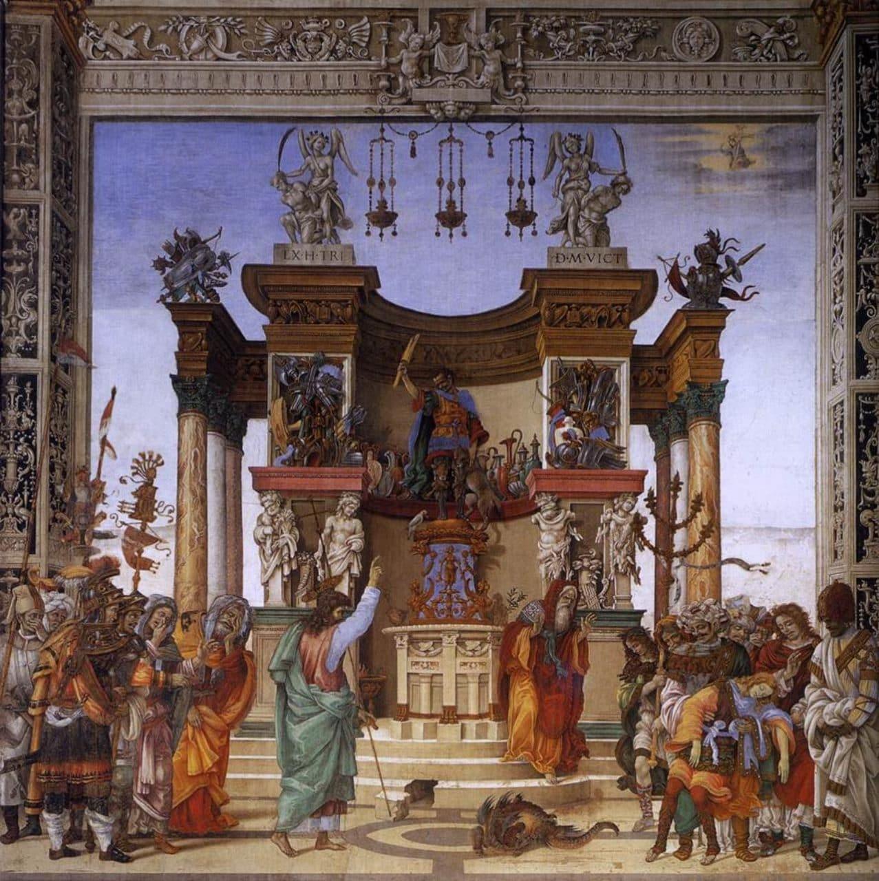 이탈리아 여행, 피렌체, 산타 마리아 노벨라성당, 필리포 스트로치 예배당 (Filippo Strozzi Chapel) 프레스코 , Filippino Lippi, St Philip Driving the Dragon from the Temple of Hieropolis (detail)