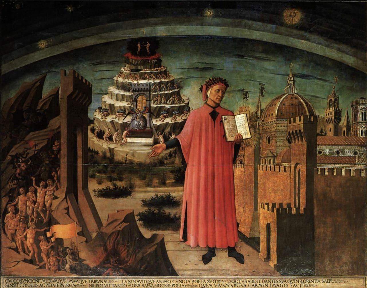 이탈리아 여행, 피렌체 산타 마리아 델 피오레 성당에 소장된 도메니코 디 미켈리노(Domenico di Michelino)가 1465년에 그린 '단테의 신곡(La commedia illumina Firenze)'