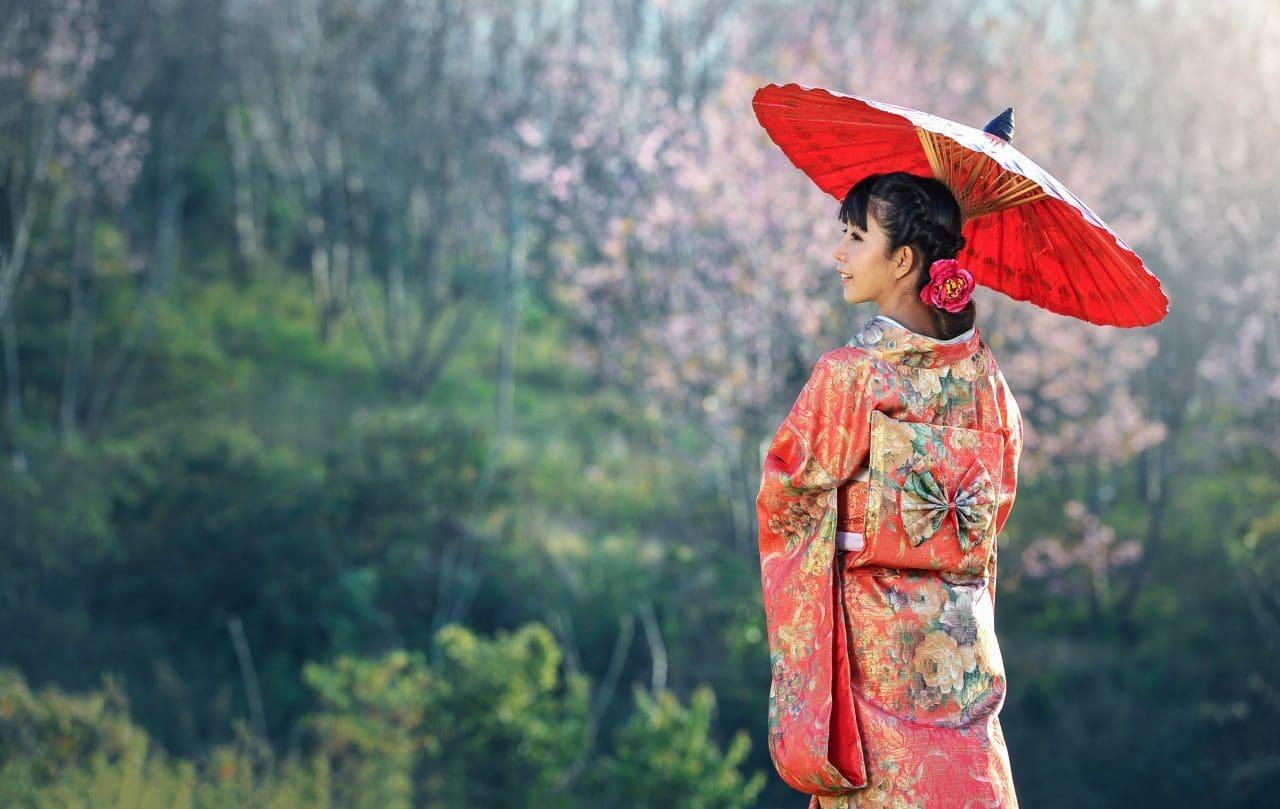 일본 정통 복장 기노모를 입은 일본 여인, Image - sasint