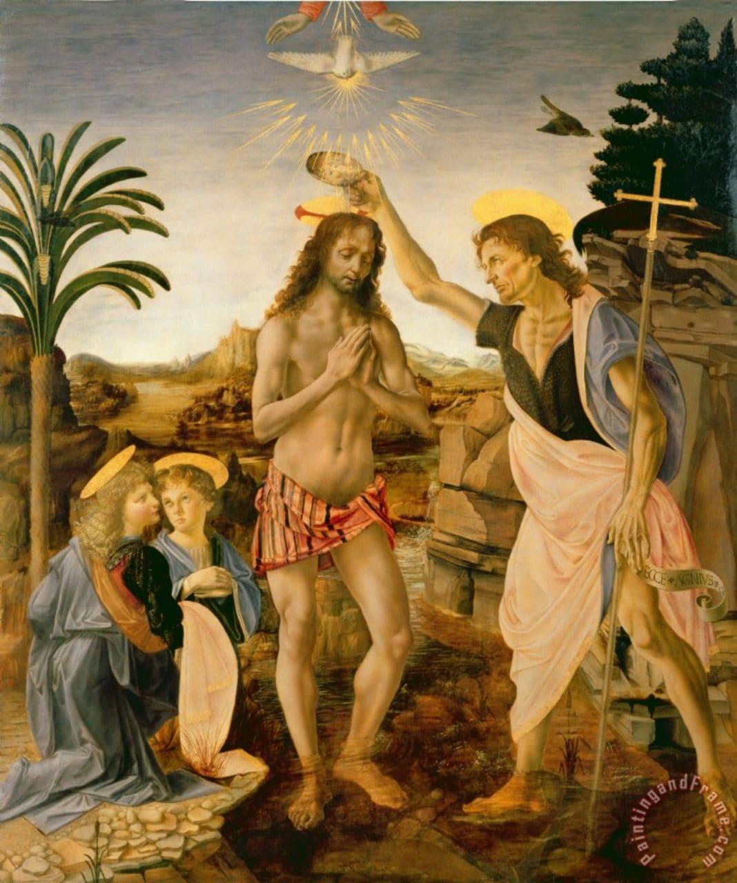 레오나르도 다 빈치와 베로키오가 공동으로 그린 그리스도의 세례(Baptism of Christ)