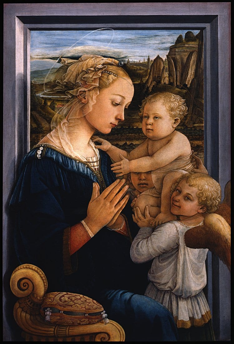 성모와 함께 있는 아기 예수와 천사들(Madonna with child and two angels) -필리포 리피, 1465,  Madonna col Bambino e due angeli - Google Art Project