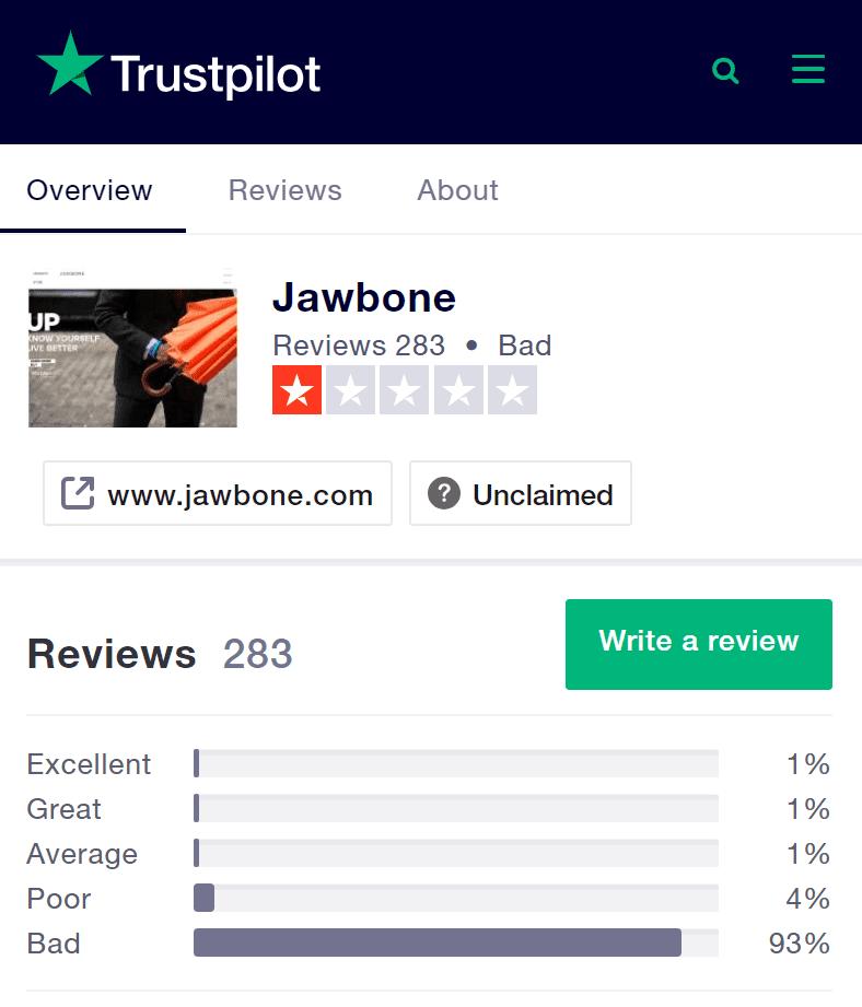 고객 후기전문 사이으 트러스트파일럿(Trustpilot) 조본 평가
