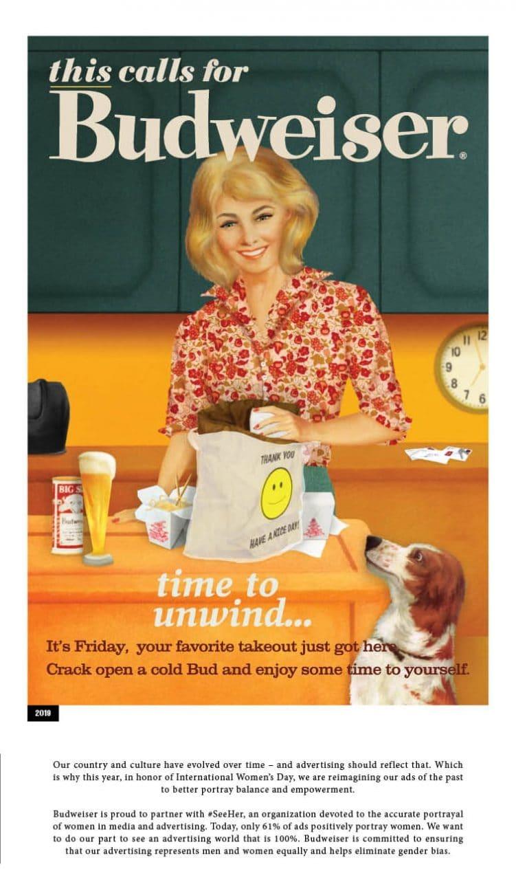 버드와이저 2019년 여성의 날 광고 budweiser-dinner-1958-2-2019