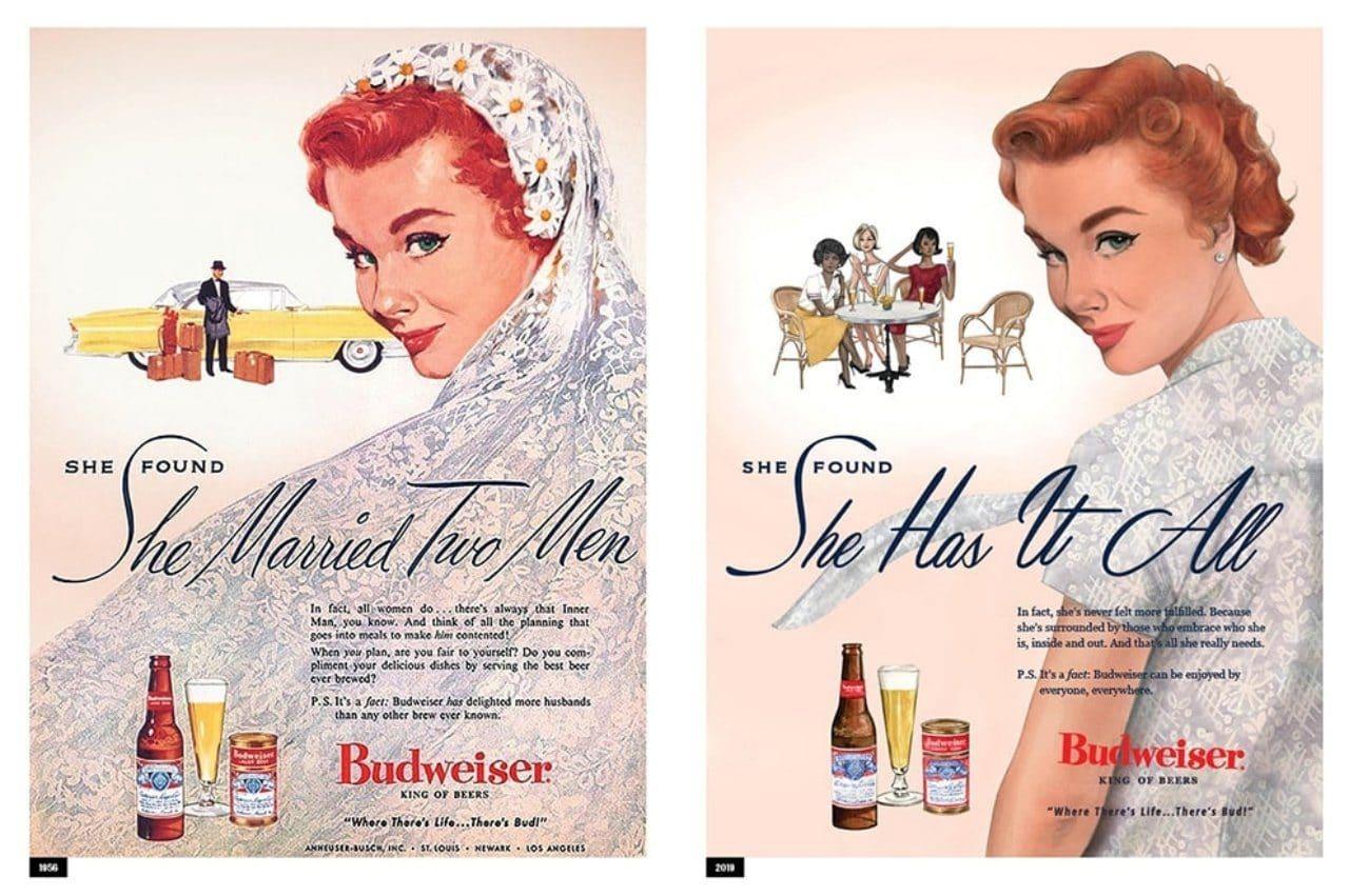 2019년 여성의 날을 맞아 뉴욕타임즈 등에 게재된 버드와이저 광고, 1956년광과와 다시 수정한 광고를 비교, budweiser has it all hed page 2019