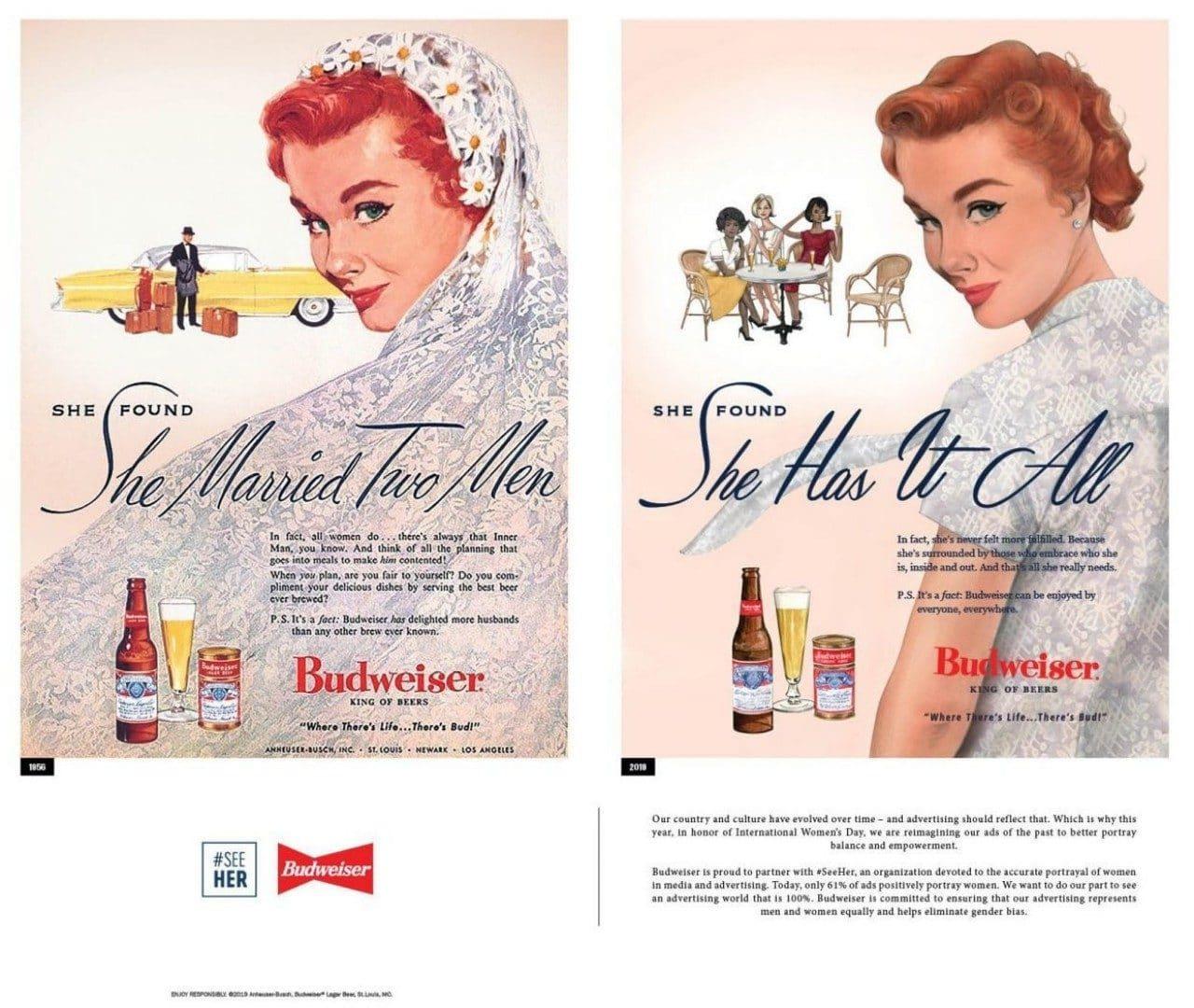 2019년 여성의 날 버드와이저 광고, 1956년광고와 2019년 수정한 광고를 비교, budweiser have it all 1958-2019