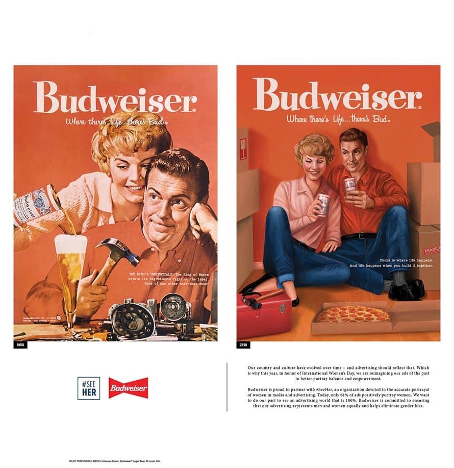 2019년 여성의 날 버드와이저 광고, 1958년광고와 2019년 수정한 광고를 비교, budweiser apartment 1958-2019