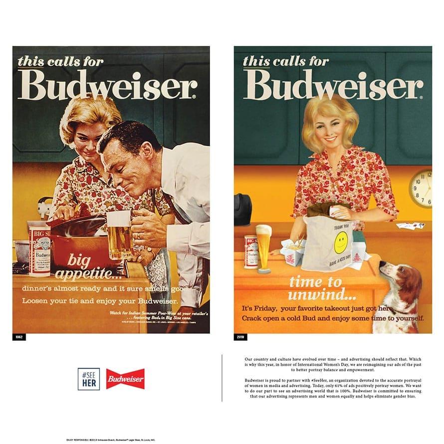 2019년 여성의 날 버드와이저 광고, 1962년광고와 2019년 수정한 광고를 비교, budweiser dinner 1962-2019