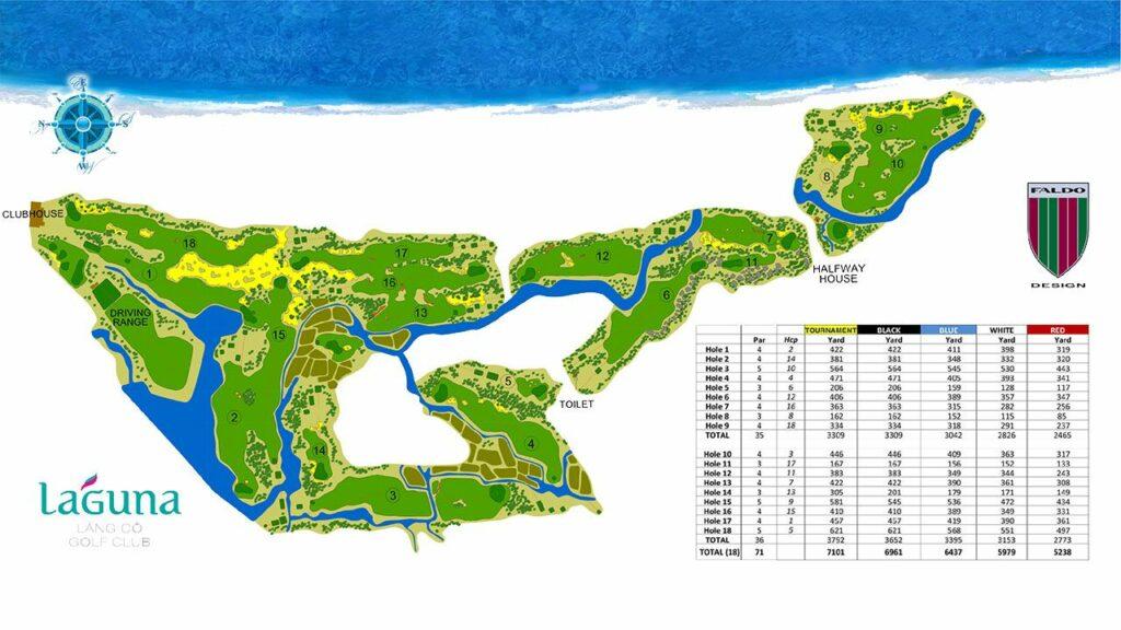 라구나 랑코 골프클럽(Laguna Lang Co Golf Club), 골프코스 맵, Laguna-Lang-Co-Golf-Couse-Map