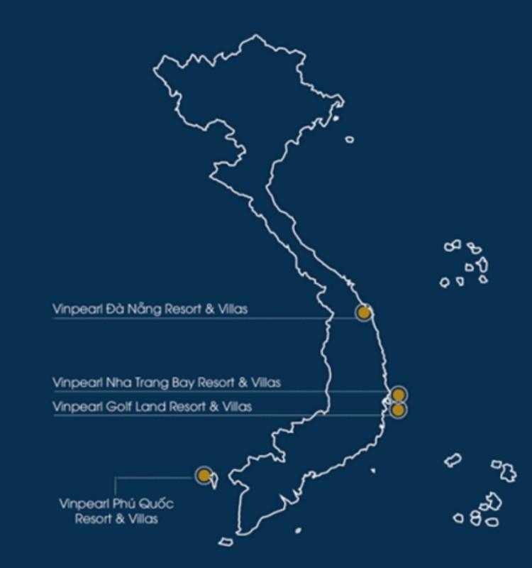 베트남 내 빈펄리조트 위치 지도