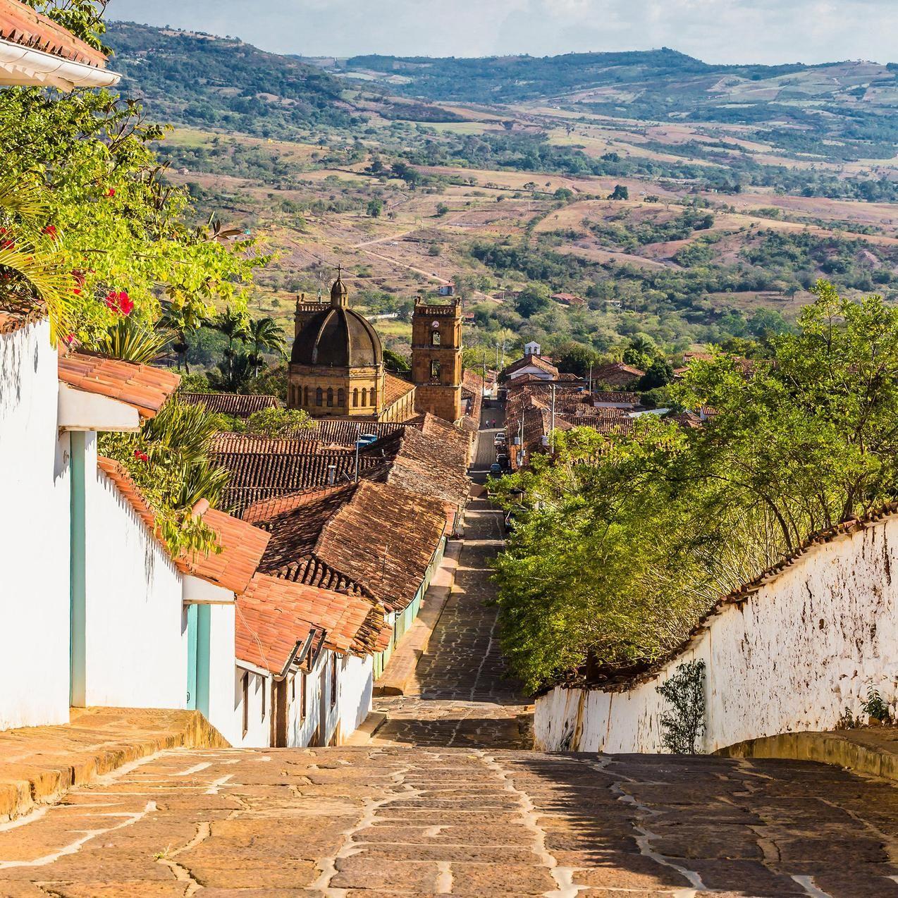 콜롬비아 동부 산악지대에 있는 Barichara, Barichara, in Colombia's eastern mountains, PHOTO by ALAMY