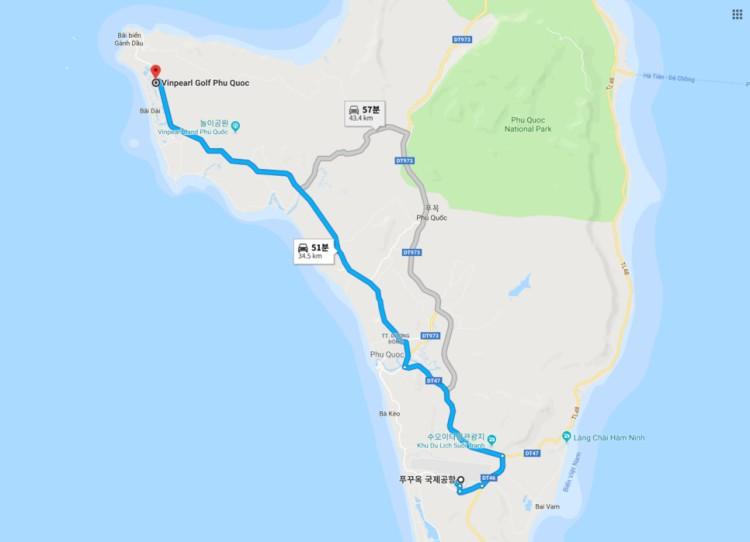 푸꾸옥 국제공항에서 푸꾸옥 빈펄 골프장(Vinpearl Golf Phu Quoc)까지 거리 및 이동시간