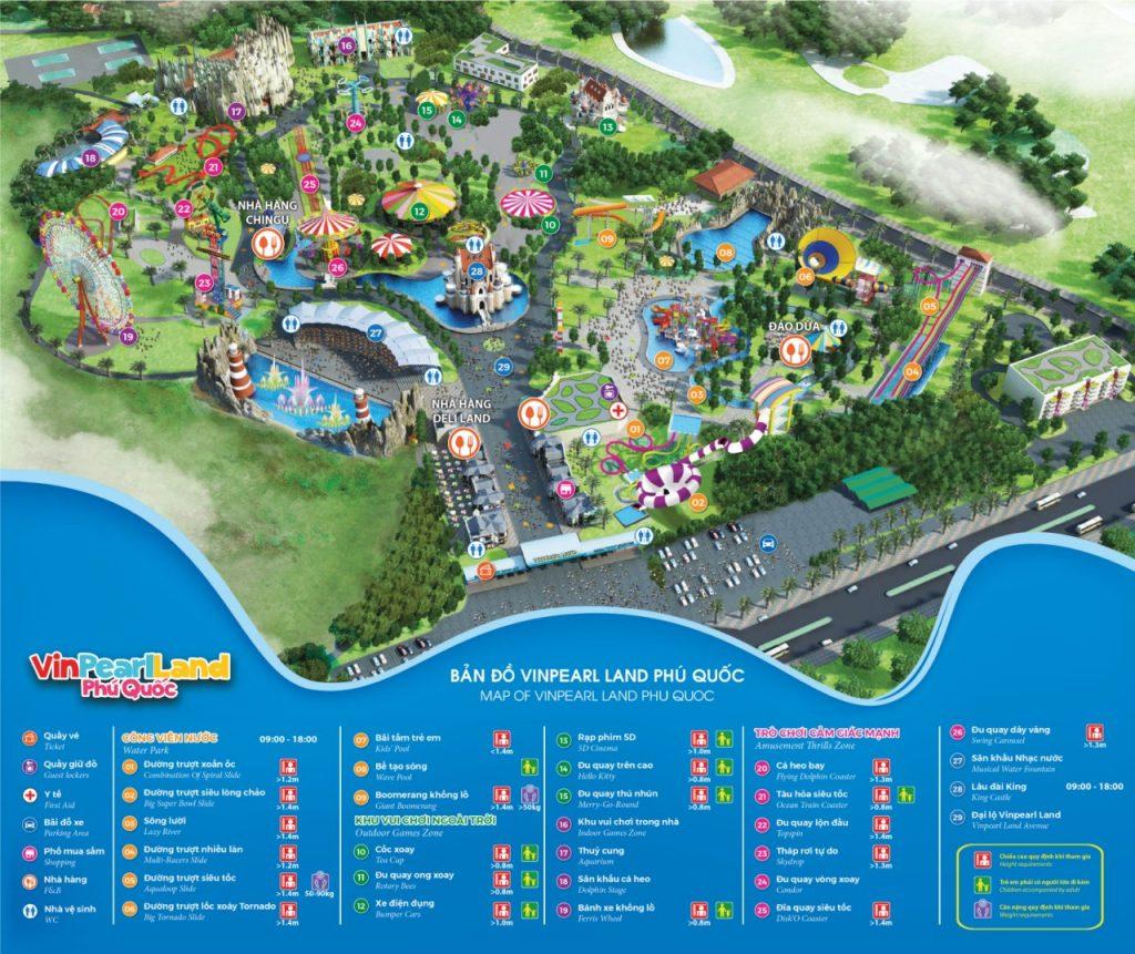 푸꾸옥 빈펄랜드 지도 map of vinpearl land PHU QUOC