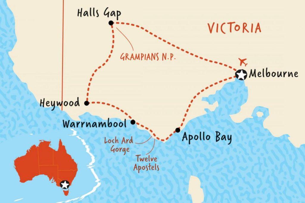 호주 그램피언스가는 길 지도, Great Ocean Road & Grampians Discovery