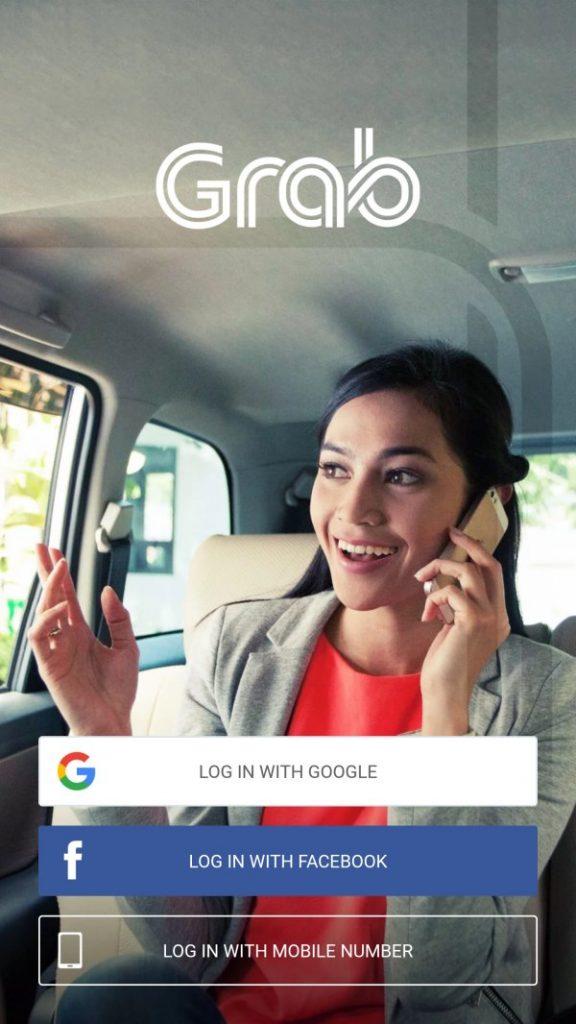 그랩 앱 페이스북 또는 구글 소셜 로그인 화면