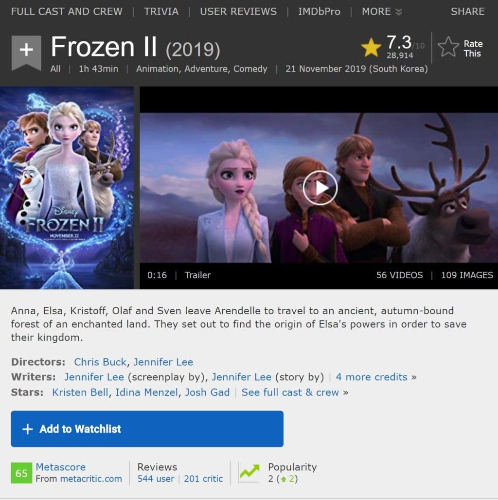 영화 음악 정보 찾기_IMDB 겨울왕국2 t상세 정보 페이지