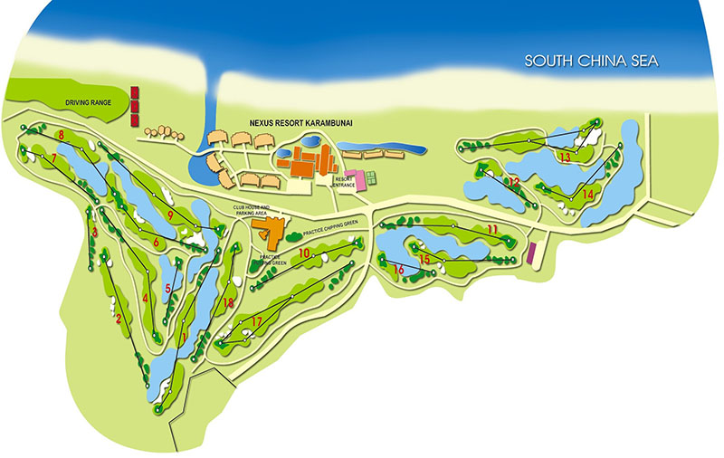 코타키나발루 가람부나이 GC(Nexus Golf Resort Karambunai) Course map, Image fromNexus Golf Resort Karambuna
