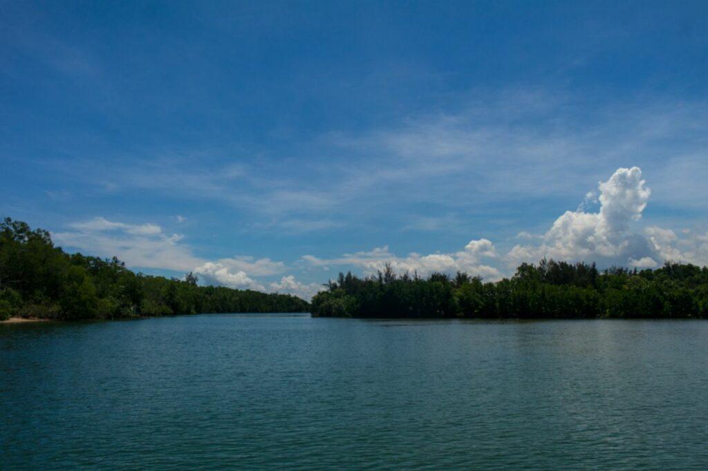 코타키나발루 맹그로브 투어 강과 바다가 만나는 지점에서 바라 본 맹그로브강 풍경과 구름