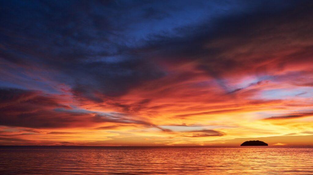 코타키나발루 샹그릴라 탄중아루에서 바라본 일몰 풍경, Tanjung Aru, Kota Kinabalu, Malaysia, Photo by ck-yeo