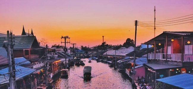 태국 암파와 수상 시장(Amphawa Floating Market) 석양 풍경 landscape, phptp by oiqsels,com
