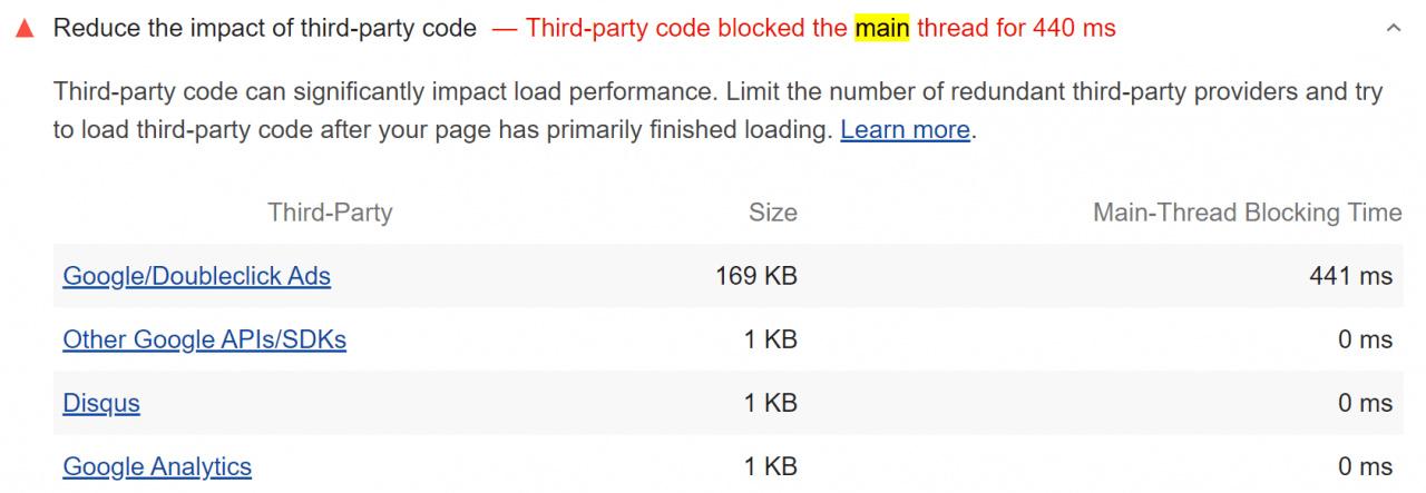 Lighthouse에서 측정한 Reduce the impact of third-party code