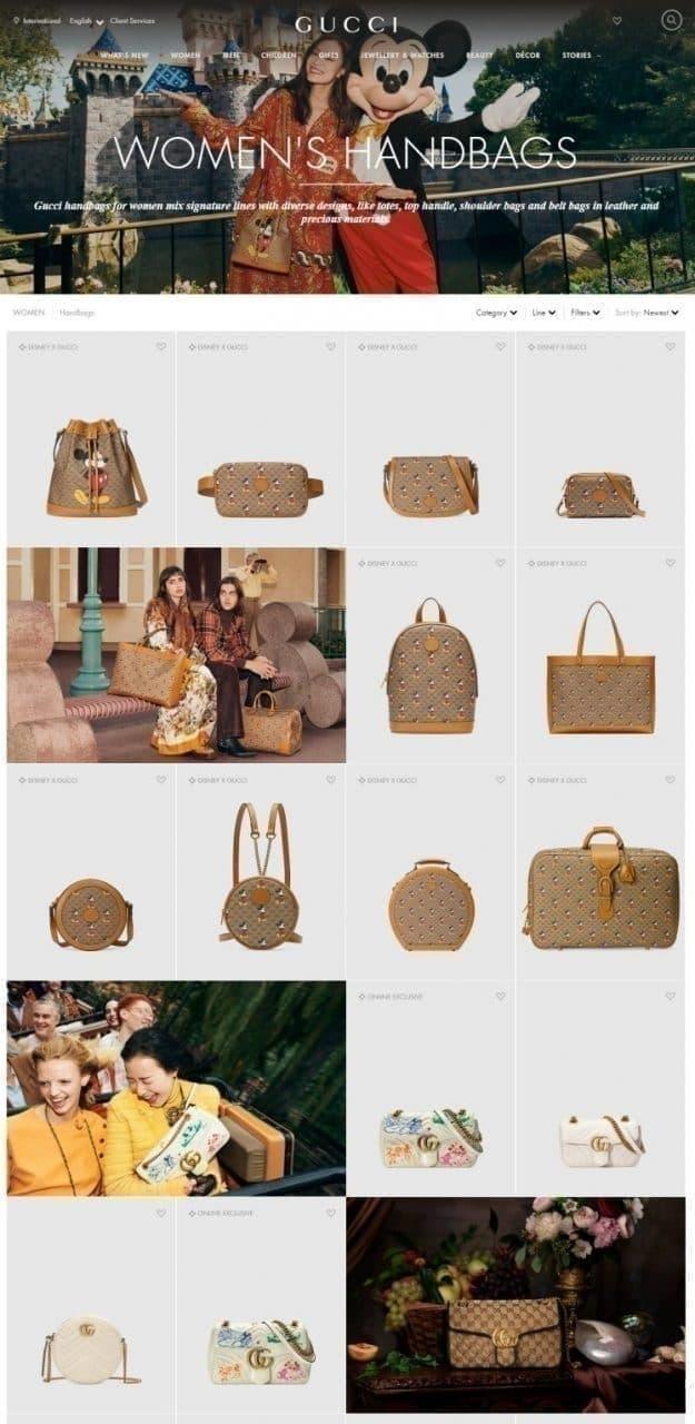구찌 온라인 스토어 여성 백 페이지, 상품만의 나열이 아닌 다양한 사용 씬을보여주어 구매를 자극하고 있다, Image from Gucci online shop