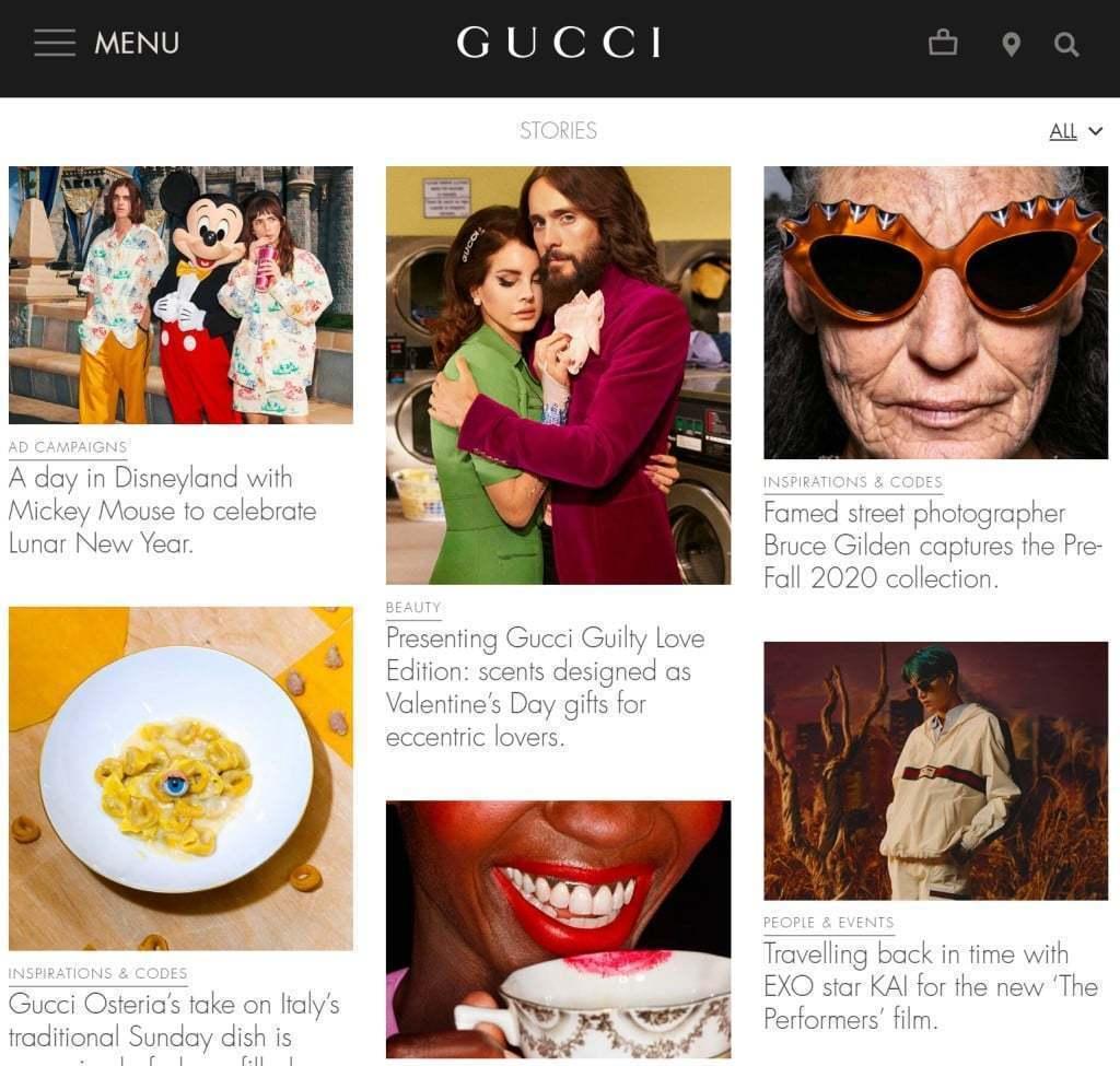 구찌 웹사이트내 스토리 섹션, Gucci website Stories section