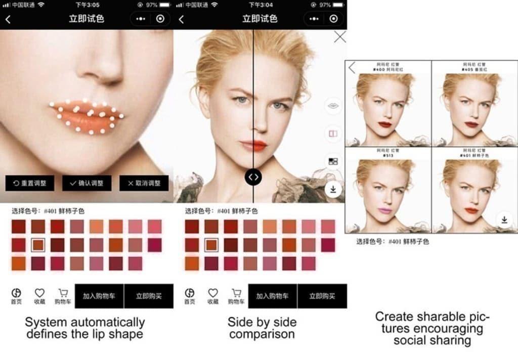 아르마니 화장품 미니 프로그램이 증강 현실(AR), Armani's WeChat Mini-Program A(augmented reality), Image from wechat blog