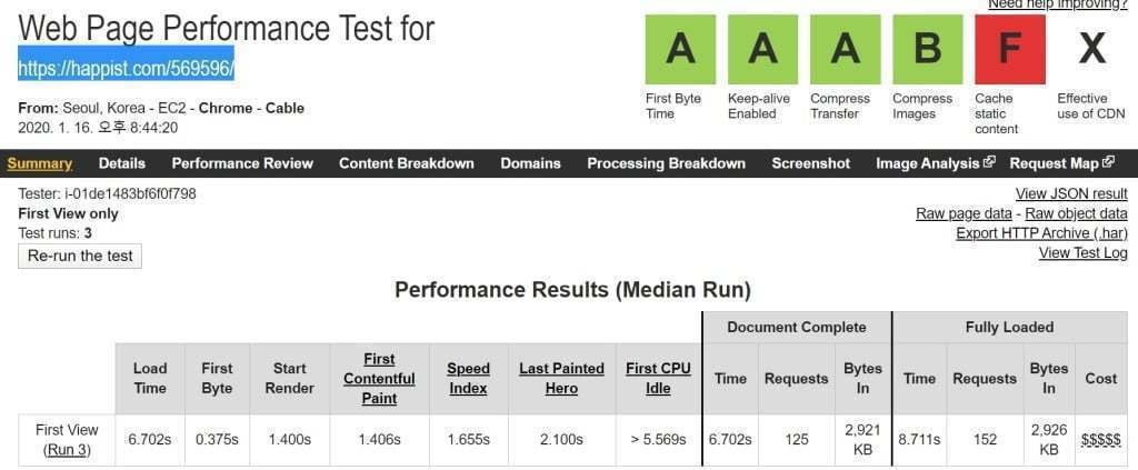 워드프레스에 유튜브 영상 6개를 임베딩 경우 webpagetest.org 테스트 결과