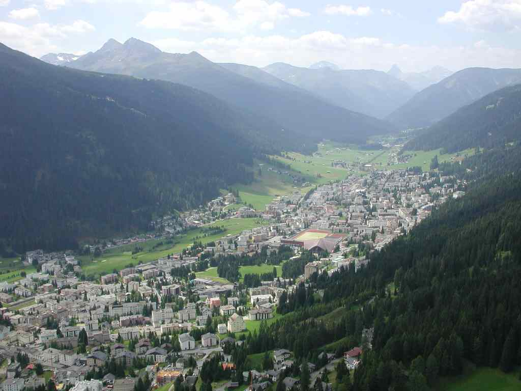 패러글라리더 비행중에 바라본 다보스(Davos), Davos in Switzerland - taken from paraglider, Photo by Benutzer