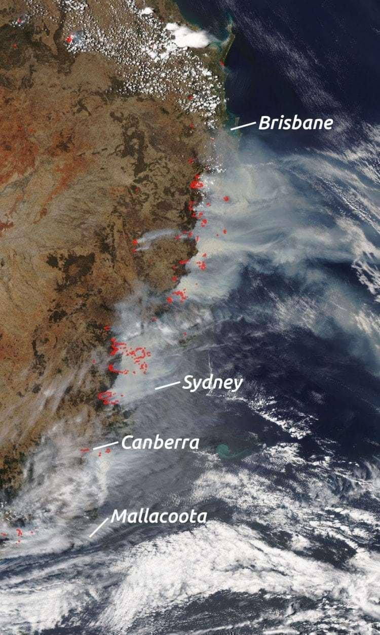 호주 산불 위성 사진, 2019-12-07 촬영, East Australian Fires, Image by EnchanterTim