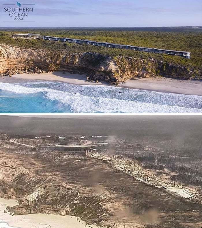 2019~2020 호주 산불 전후 사진 불타버린 캥거루 섬(Kangaroo Island)에 위치한 남부 해안가의 호화로운 통나무 숙소, Image from Bored Panda
