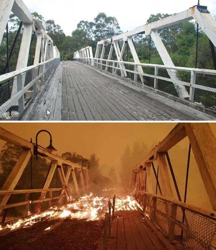 2019~2020 호주 산불 전후 사진, 빅토리아  제노바강을 가로지르는 역사적인 제노바 다리(Genoa Bridge)도 불타 파괴되다,, Image from Boredpanda(Heritage Council Victoria),GippsNews