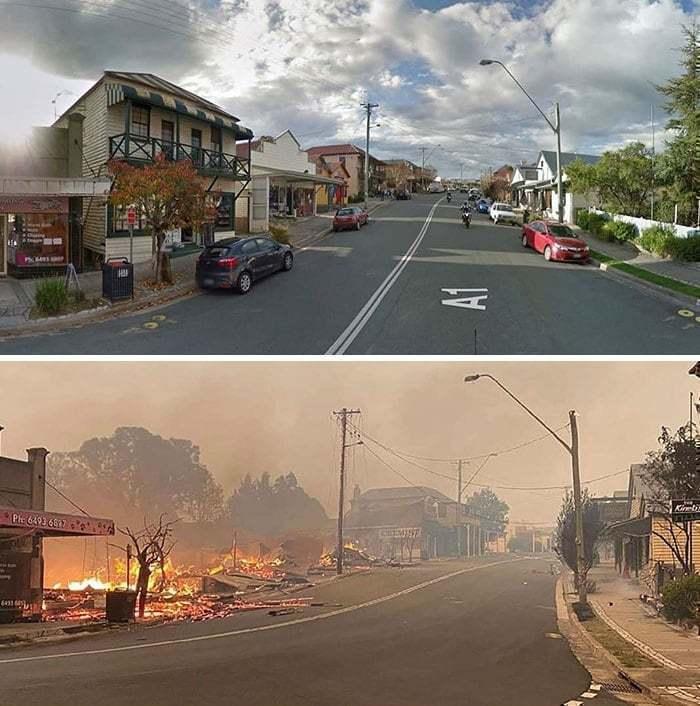2019~2020 호주 산불 전후 사진, 역사적인 코바르고와 콰야마 마을를 강타한 산불, Image from Bored Panda